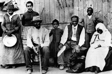 Harriet Tubman with escaped slaves at an UndergroundRail Road station